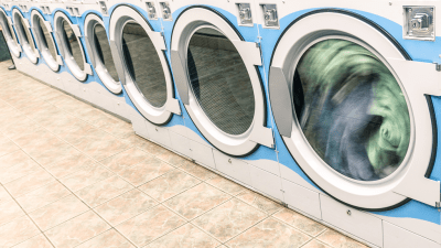 row of washing machines representing Dr. Ned Hallowell's SPIN cycle - and how to get unstuck