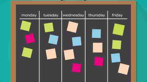 A board with sticky notes outlining a morning routine