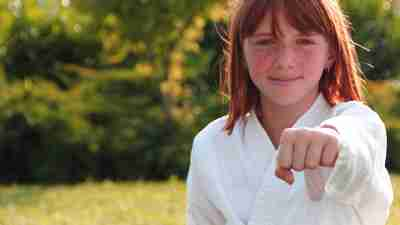 A girl with ADHD practices martial arts such as karate