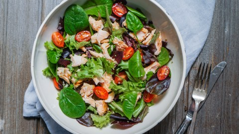 Salmon salad is a healthy meal idea that offers the additional benefit of omega 3's.