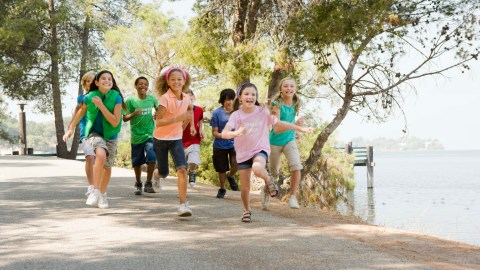 A group of children running, a smart exercise idea for kids
