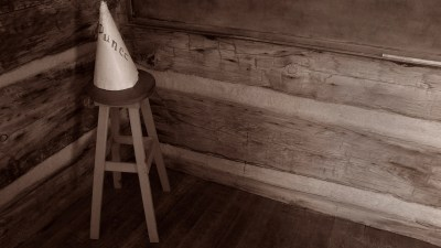 A dunce cap in a classroom represents the shame many children with ADHD feel over being called stupid.