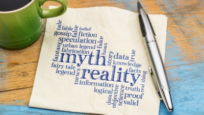 Myth and reality word cloud because a lot of misinformation exists about bipolar disorder, much of it harmful to those living with the condition. Read on to get the truth and educate yourself about the disorder!