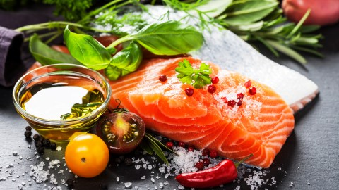 A meal of vegetables and salmon contributes to a healthy lifestyle — part of ADHD alternative treatments.