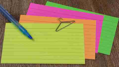 A set of colored index cards, perfect for keeping formulas and facts handy which leads to improved math skills.