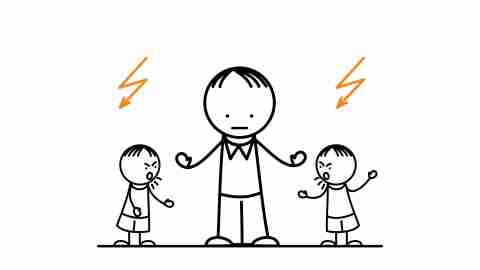An illustration of a parent standing between two arguing teens with ADHD