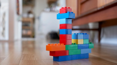 Legos in the shape of Minecraft blocks