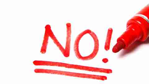 "The word ""no"" written in red, an example of negative self talk"