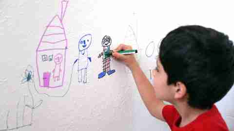 A child drawing as part of his behavior threapy approach to treating adhd without medication.