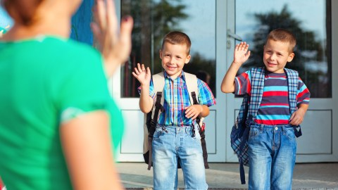 Two boys go to school where they will learn to make new friends