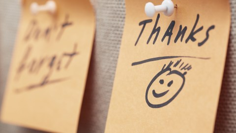 "A post-it that says, ""Thanks."" — a show of gratitude from a person who doesn't have any friends."