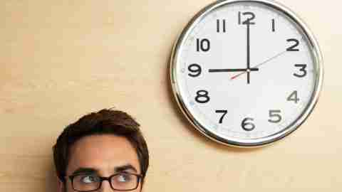 A man with ADHD watches the clock