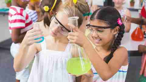 Kids with ADHD working on a science lab in school
