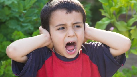A boy with sensory processing disorder covers his ears because sound is overwhelming