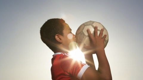 Boy plays soccer to tire him out to fix ADHD.