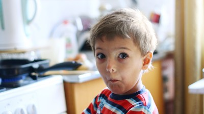 A little boy makes a silly face — it's always comedy hour around him.