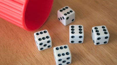 Dice shaken out of a Yahtzee cup - a metaphor for what it feels liek to have ADHD