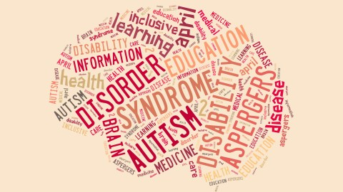 Illustration with word cloud on disease Autism which often overlaps with ADHD