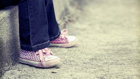 The shoes of a girl with autism spectrum disorder and ADHD.