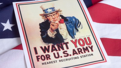 Uncle Sam poster recruiting for US army on american flag