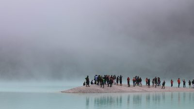 Stay in touch with your friends to keep perspective, like this group at the base of a volcano