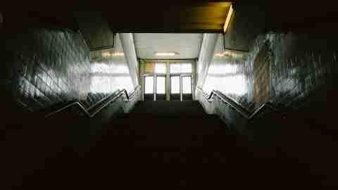 Empty school hallway and depression