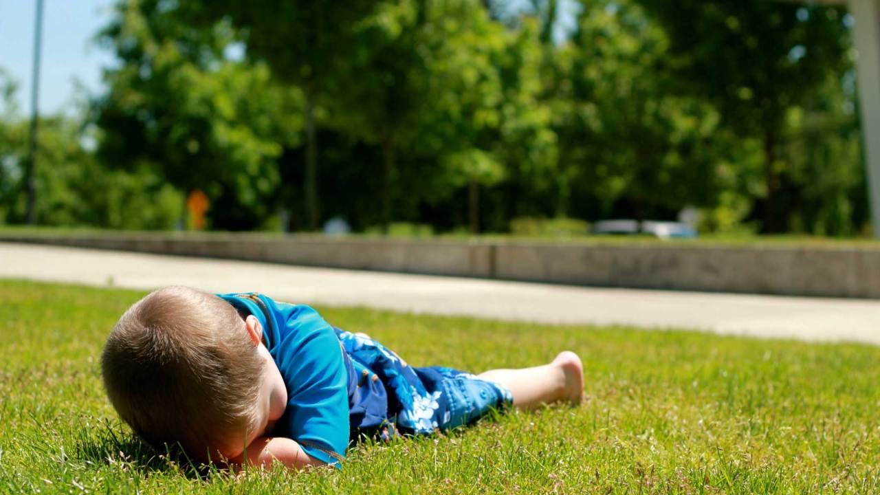 Child with ADHD having a public meltdown or temper tantrum