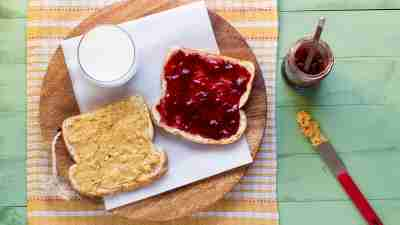Open faced peanut butter and jelly sandwich, a favorite lunch among ADHD kids