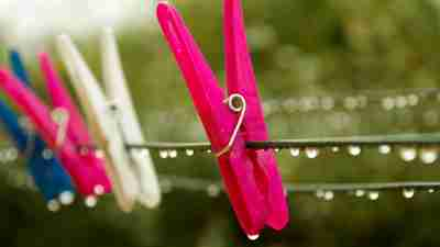 Clothespins drip on the clothesline after rain. Moms with ADHD often forget to bring the laundry in.