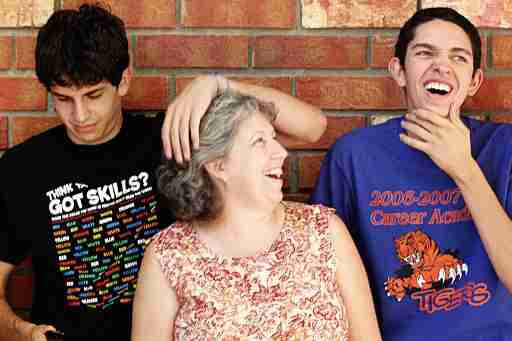 Strong ADHD family of Mom with two sons laughing