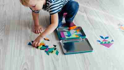 Boy with ADHD learning through creative play