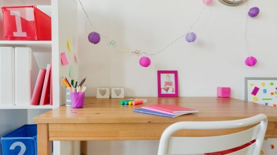 Organized space with desk, chair and cubbies for ADHD kids