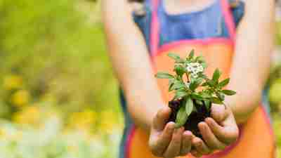 A woman gardens outside as a natural treatment for ADHD symptoms