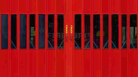 Community Service: Red Firehouse Doors