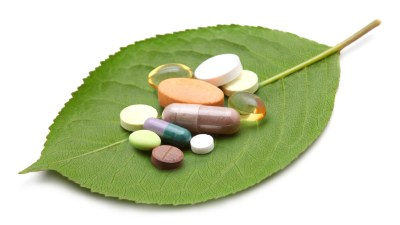 Some of the best supplements for ADHD sitting on a green leaf
