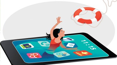 woman with ADHD swimming in her phone screen reaches for a life-saving app