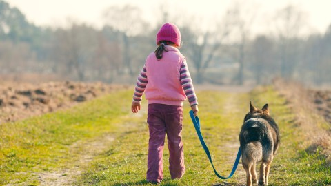 A little girl walking a dog, one of many exercise ideas for kids