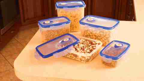 Set aside some time on the weekend to sort through all your Tupperware or other food storage containers. Everything should have a matching lid — if it doesn't, put it out with the recycling. If you have more than five of the same size, get rid of the spares — and stack all the corresponding pieces together for easy storage.