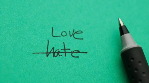 Hate crossed out in favor of love for your child with ADHD.