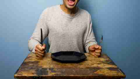 A man with ADHD is extremely hungry because he forgot to eat lunch