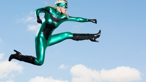 A woman in a superhero costume can make overwhelmed moms with ADHD feel inferior.