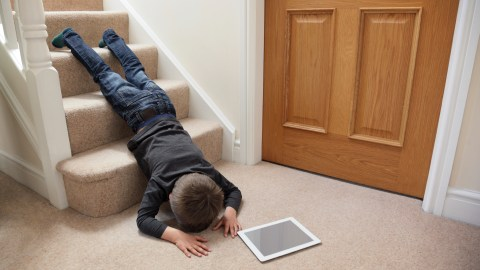 A child with SPD might have trouble with senses and be prone to accidents like falling down the stairs.
