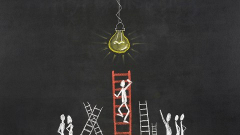 An illustration of a person climbing a ladder, a metaphor for acheiving ADHD weigh loss step-by-step