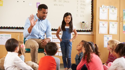 Teacher discussing ADHD and anxiety with group of children