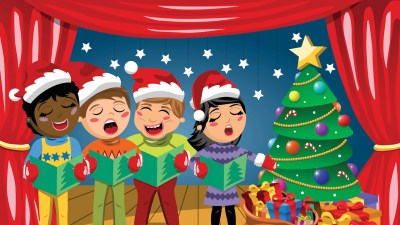 Children singing in the school holiday play