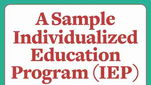 A sample IEP for an elementary-school student