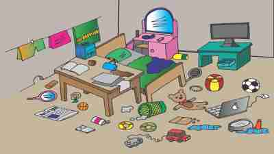 An illustration of the room of a messy child