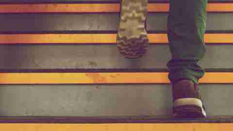 A teen with ADHD climbs stairs and matures