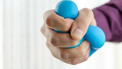 Anti-stress balls in ADHDer's hand