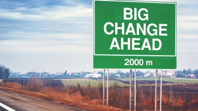 Big change ahead sign, a motivational poster for people with ADHD
